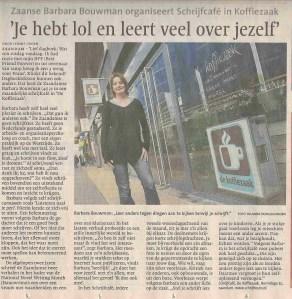 Schrijfcafé in het Noord Hollands Dagblad van 4 januari 2011
